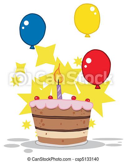 torta, tiered, candela compleanno - csp5133140