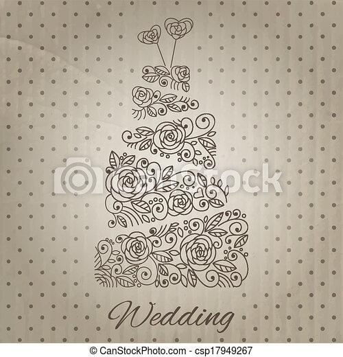 torta, vettore, matrimonio - csp17949267