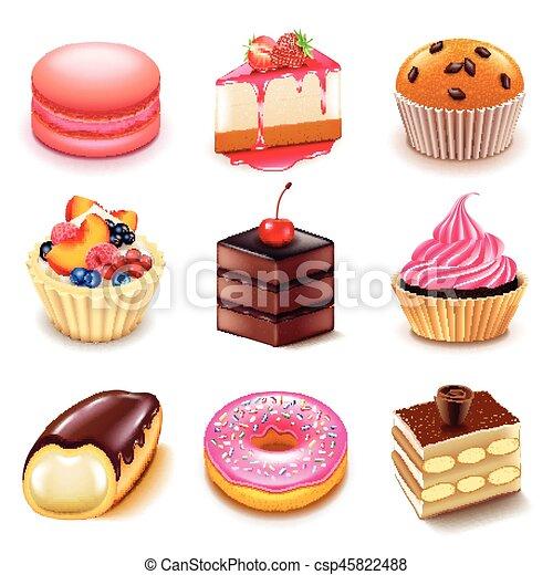 torte, vettore, set, icone - csp45822488