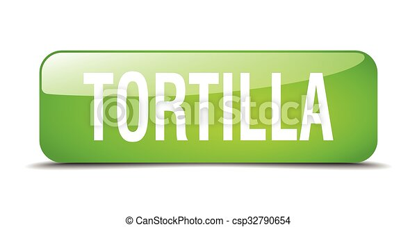 tortilla green square 3d realistic isolated web button - csp32790654