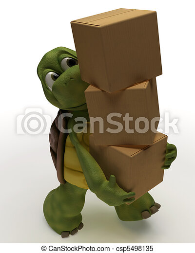 Tortoise Caricature Carrying Packing Carton - csp5498135