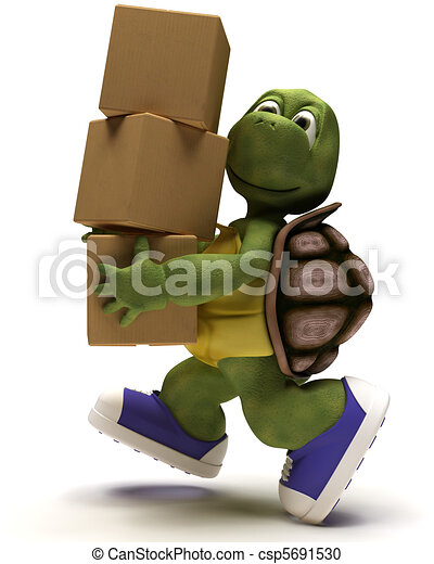 Tortoise Caricature runniing with packing cartons - csp5691530
