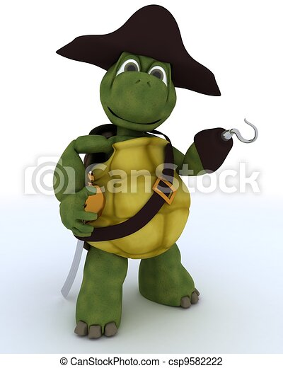 Tortoise dressed as a pirate - csp9582222