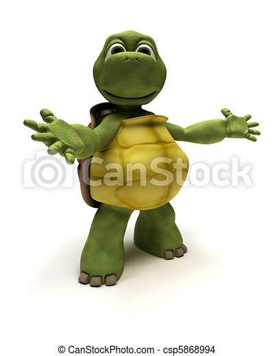 Tortoise in an introduction pose - csp5868994