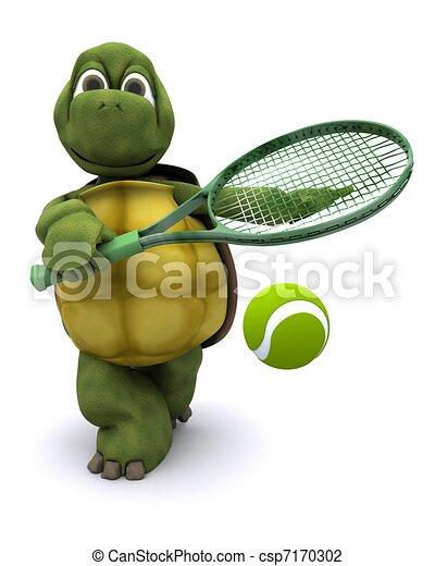Tortoise playing tennis - csp7170302