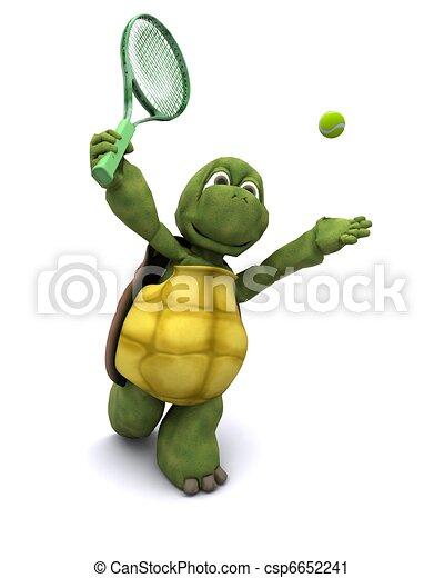Tortoise playing tennis - csp6652241