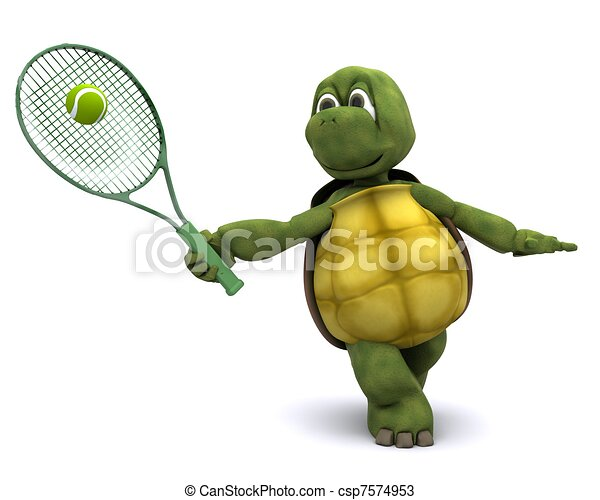 Tortoise playing tennis - csp7574953