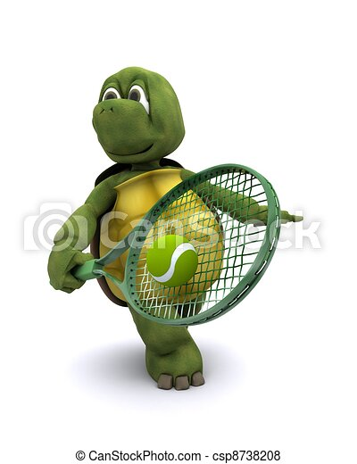 Tortoise playing tennis - csp8738208