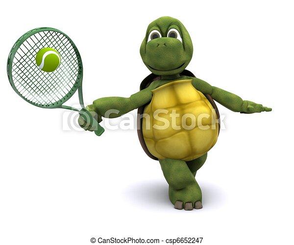 Tortoise playing tennis - csp6652247