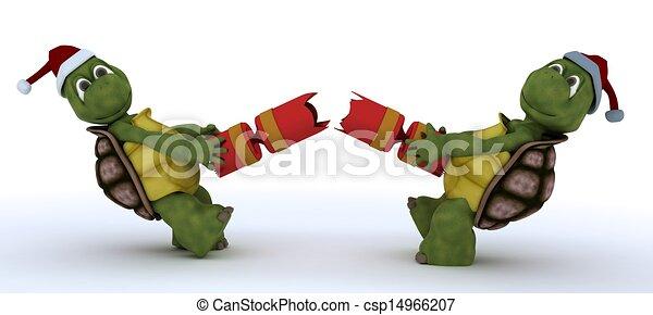 tortoise pulling christmas cracker - csp14966207