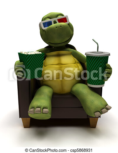 Tortoise relexing in armchair drinking a soda watching a 3D movie - csp5868931