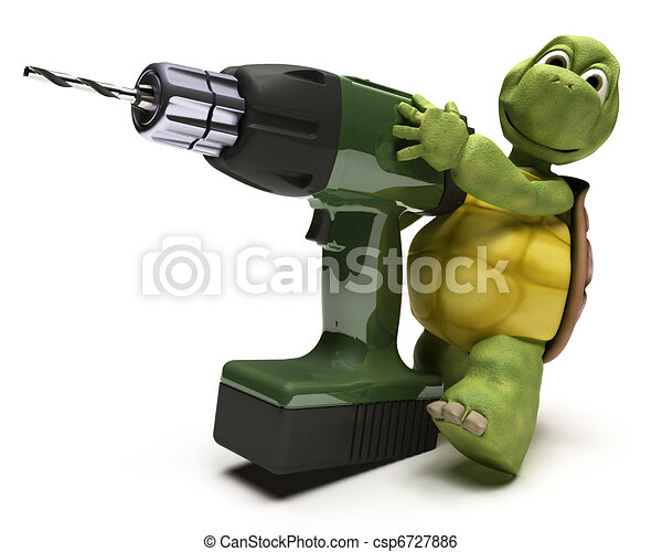 Tortoise with power drill - csp6727886