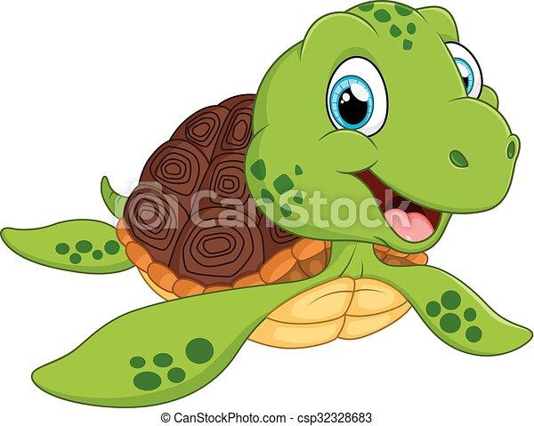 Tortue dessin anim mer heureux tortue illustration vecteur mer dessin anim heureux - Clipart tortue ...