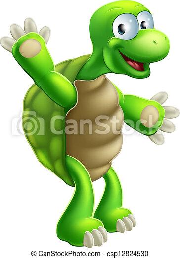 tortue, onduler, tortue, ou, dessin animé - csp12824530