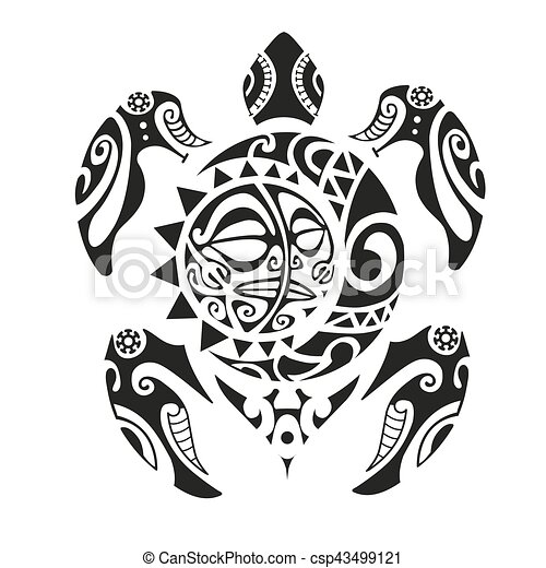 Tortue Tatouage Maori Eps10 Illustration Vecteur Style
