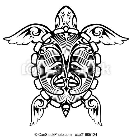 tortue tatouage tribal totem animal tortue tatouage illustration vectorielle. Black Bedroom Furniture Sets. Home Design Ideas