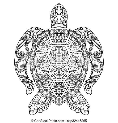 Página de color de tortuga - csp32446365