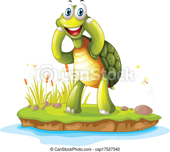 Una tortuga sonriente en una isla - csp17527340