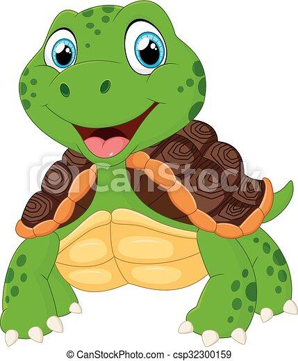 Lindo dibujo de tortuga posando - csp32300159