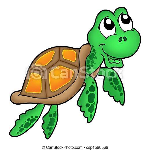 Tortuga, sonriente, poco, mar. Tortuga, poco, illustration., color ...