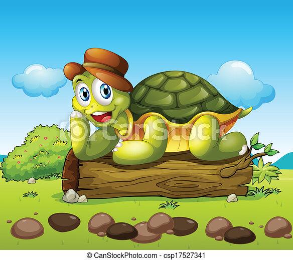 Una tortuga sonriente sobre el maletero - csp17527341