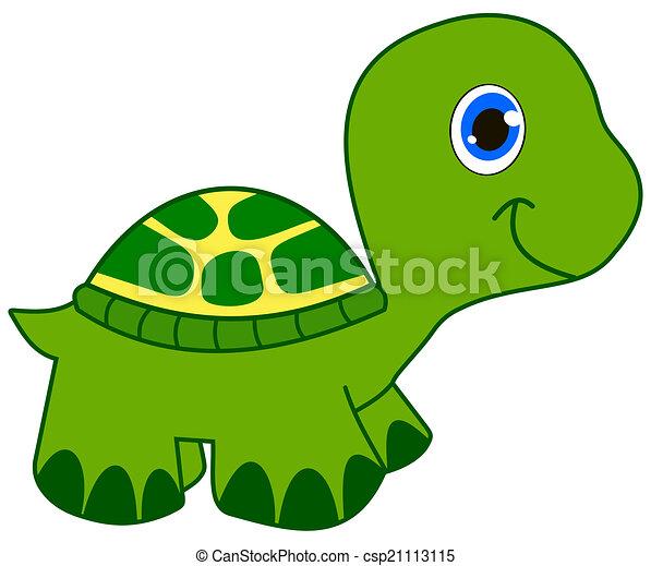 Tortuga sonriente verde joven - Clipart tortue ...