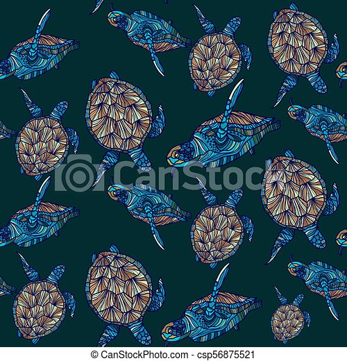Patrón de tortuga sin costura. Ilustración de vectores. - csp56875521