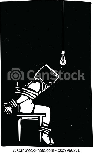 Torture person strapped to chair with bag over their head in interrogation scene - Clipart tortue ...