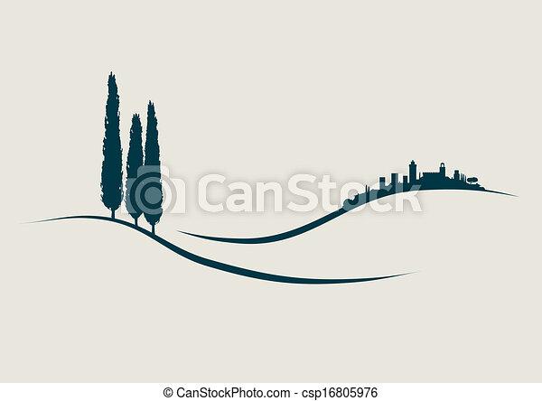 Ilustración estilizada mostrando San Gimignano en la historia de los colmillos - csp16805976