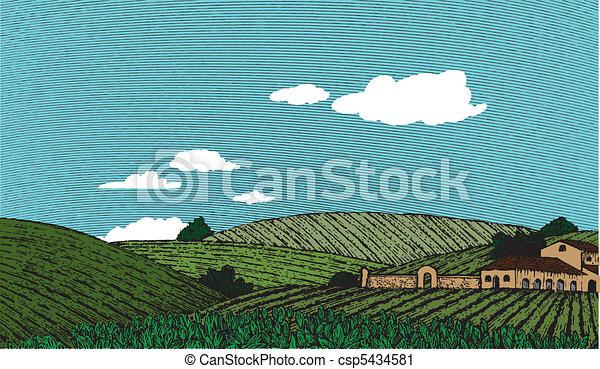 toscano, colorare, scena, paesaggio - csp5434581