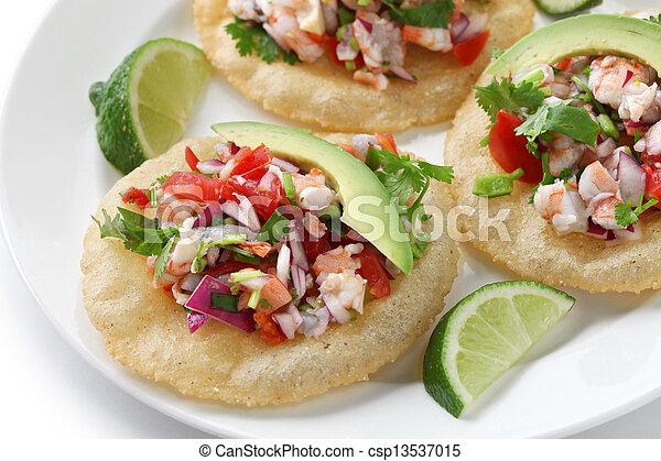 tostadas de ceviche, mexican food - csp13537015