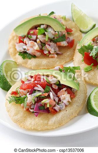 tostadas de ceviche, mexican food - csp13537006