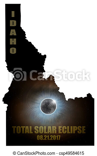 Total Solar Eclipse in Idaho Map Outline - csp49584615