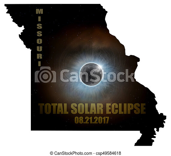 Total Solar Eclipse in Missouri Map Outline - csp49584618