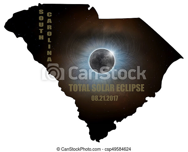 Total Solar Eclipse in South Carolina Map Outline - csp49584624
