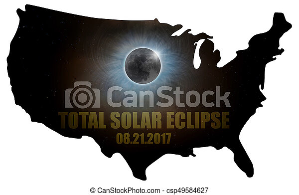 Total Solar Eclipse in United States Map Outline - csp49584627