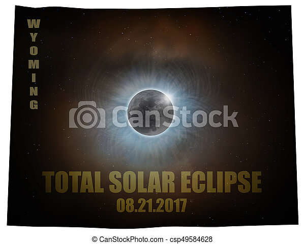 Total Solar Eclipse in Wyoming Map Outline - csp49584628