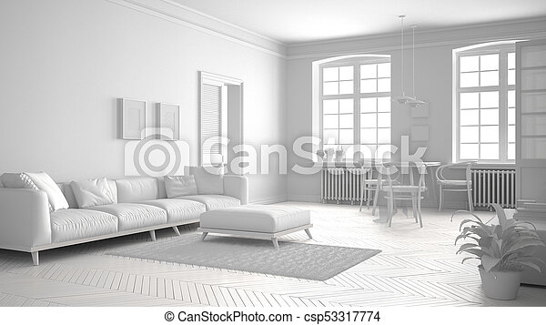 Total White Scandinavian Living Room, Minimalist Interior Design