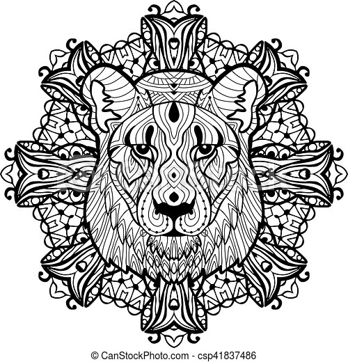 Totem coloring page for adults. The head of a lioness - csp41837486