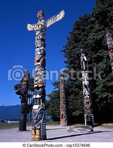 Totem Poles, Vancouver, Canada. - csp15374646