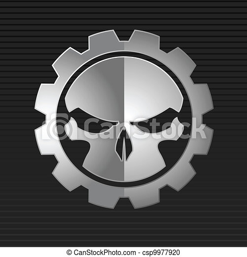 totenschädel, abbildung, vektor, übel - csp9977920