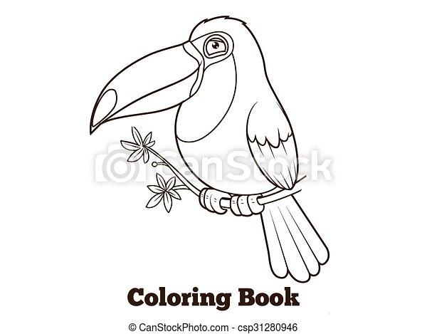 Toucan bird cartoon coloring book vector - csp31280946