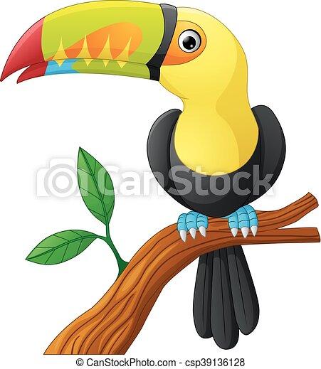 toucan cartoon sitting on the branc - csp39136128