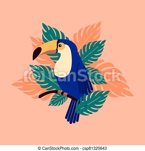 Toucan on a branch with palm leaves. Beautiful tropical bird in the leaves. - csp81320643