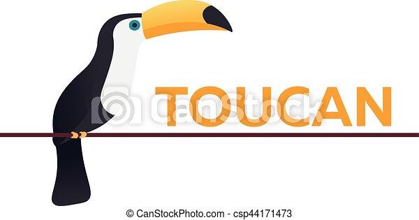 Toucan on the branch. Animal. Bird. Vector flat illustration. - csp44171473