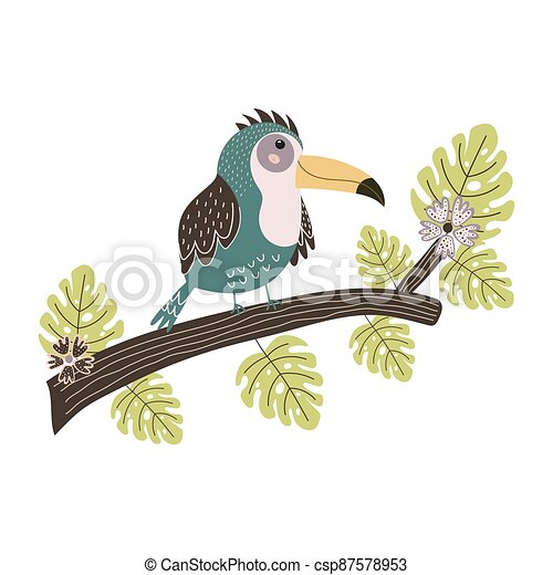 Toucan sitting on the branch. Cute tropical bird isolated element - csp87578953