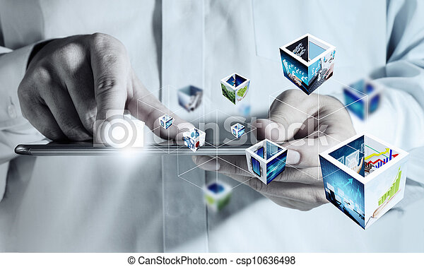 touch pad computer and 3d streaming images - csp10636498