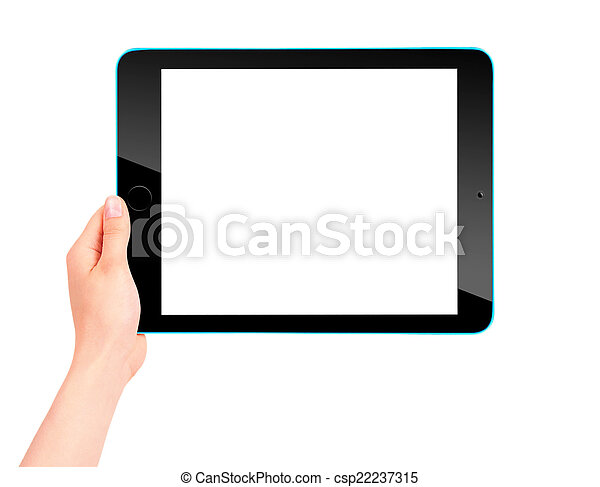 Touch screen tablet computer with hand - csp22237315
