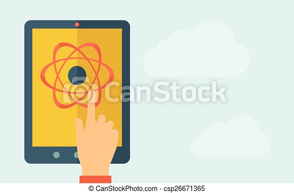 Touch screen tablet with science technology icon - csp26671365