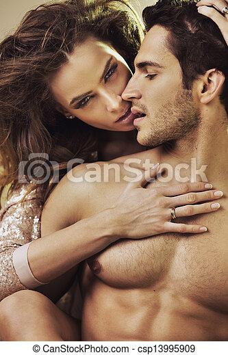 toucher, elle, sensuelles, femme, boyfriend's, parfait, corps - csp13995909